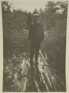 Student Ahti Rytkönen standing on a brushwood path crossing wetlands.